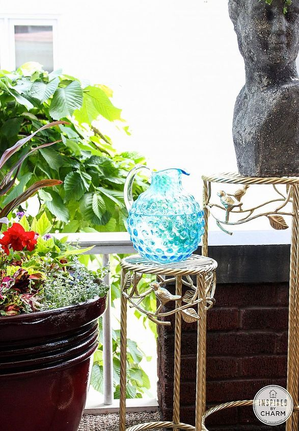 update outdoor plant stands with gold paint, outdoor furniture, outdoor living, painted furniture, Use gold spray paint outdoors via Inspired by Charm