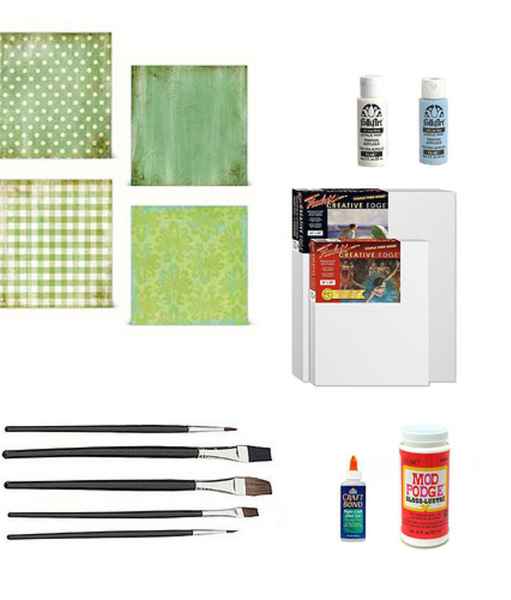 You'll need a few canvases, scrapbooking paper in the colors you want, and paints in colors that will coordinate with your nursery or kid's room.