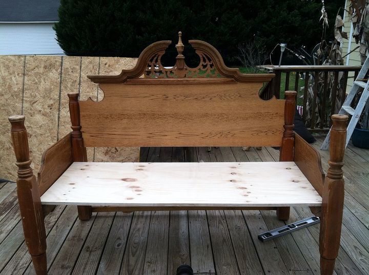 Astounding An Outdoor Bench Made From An Old Queen Bed Frame Hometalk Gamerscity Chair Design For Home Gamerscityorg
