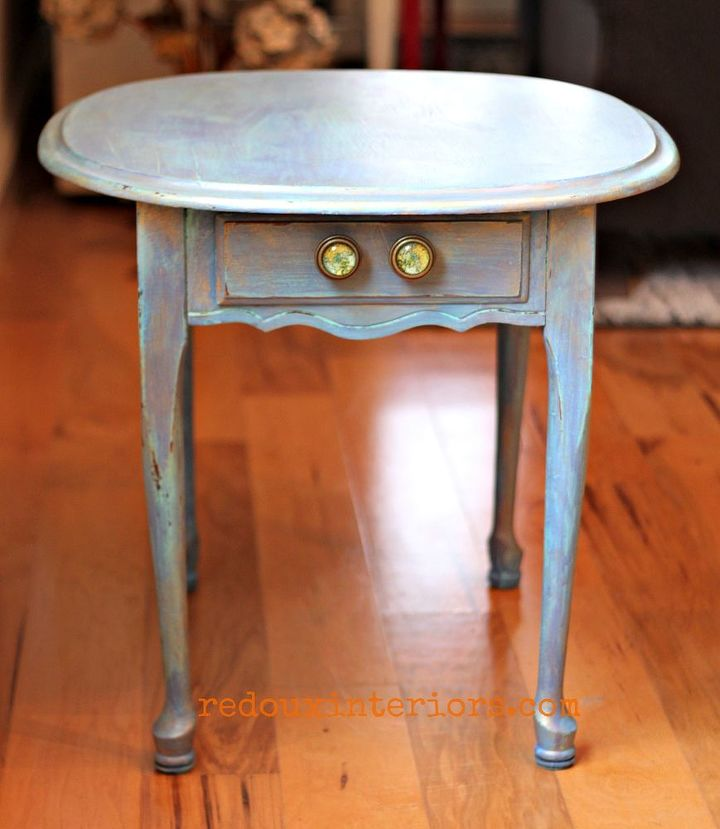 Unique Boring Side Table Painted in Gorgeous Sea Glass Blue Table   Hometalk JH92