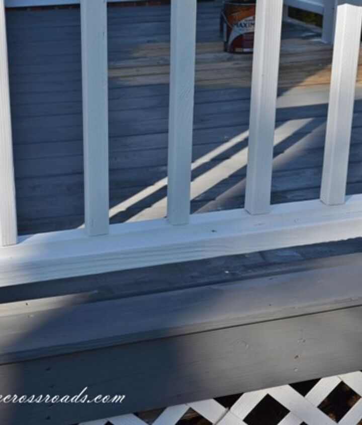 stained deck and painted handrails