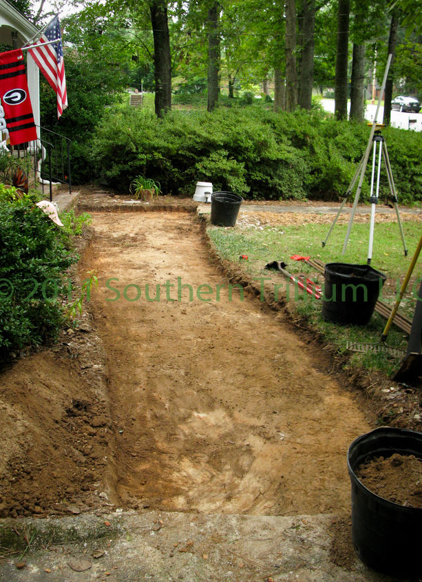 Excavation completed for new paver walkway.  All extra dirt was hauled off.