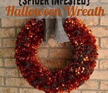 halloween wreath spider infested, crafts, halloween decorations, seasonal holiday decor, wreaths