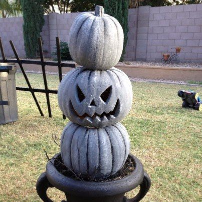 painted cheap plastic pumpkins to look like stone, crafts, seasonal holiday decor, 3 inexpensive plastic pumpkins painted to look like stone