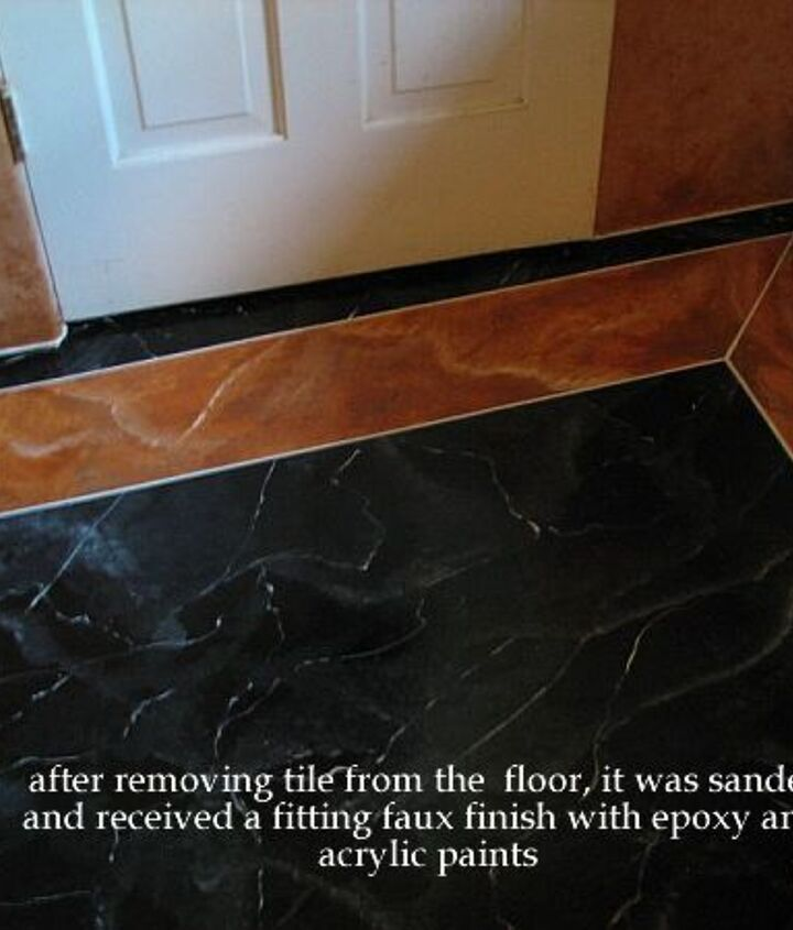 Floor with marble finish and border with faux stone.