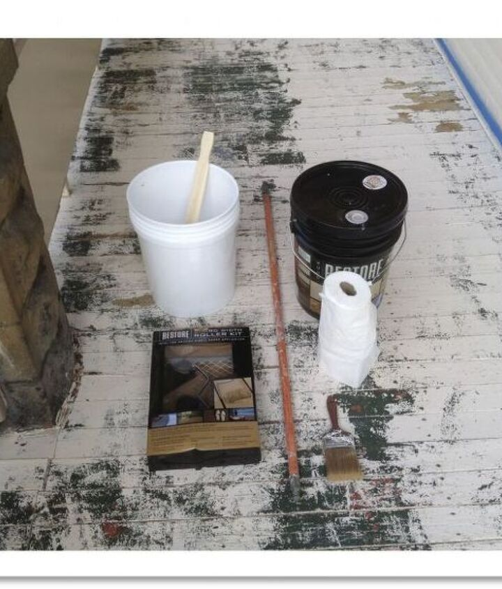 Supplies I used for this paint project. They were a 5 gallon bucket, 4 gallons of Restore paint, paint stirrer, Restore paint roller kit, 4 inch paint brush, extension pole for paint roller (didn't use, though), and paper towels.