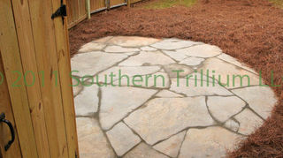q pavers or flagstone im in the process or building a fairly large patio in my, concrete masonry, gardening, landscape, outdoor living, Finished patio A small space for the homeowner to set out a few chairs