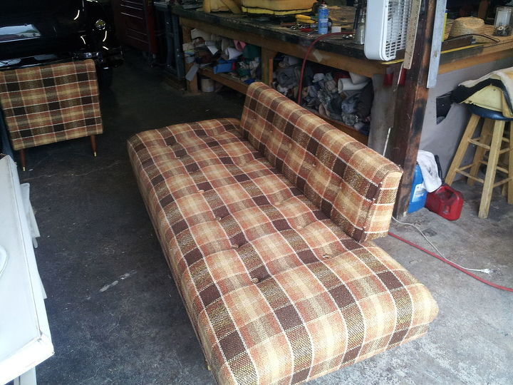sofa and chair recovered, home decor, painted furniture, sofa before