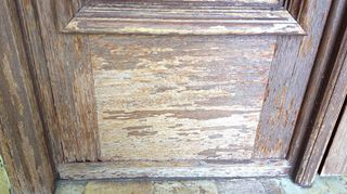 cleaning outside wooden doors prior to refinishing, curb appeal, doors, Close up of damaged stile and rail