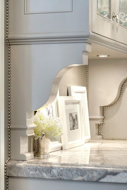 """Corbels can be used in a multitude of areas.  Shown here are custom corbel """"hutch"""" ends to frame out a space ... could be used at a butler's pantry, desk or other stand alone section.  Just not ideal in water areas."""