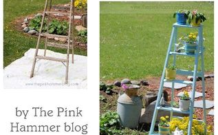 upcycle old ladder into beautiful plant stand, gardening, repurposing upcycling, Ladder Plant Stand before after by Kelly Whitman The Pink Hammer blog