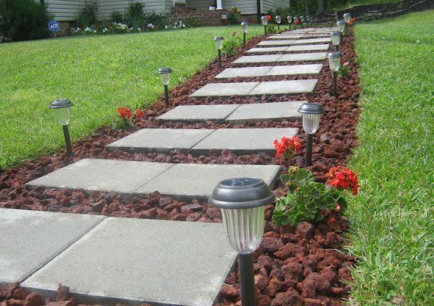 front walkway built out of inexpensive cement pavers red lava rocks and solar, concrete masonry, landscape, outdoor living, Front Walkway