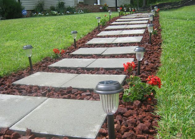 Front Walkway built out of inexpensive cement pavers, red lava rocks on inexpensive backyard patio ideas, inexpensive deck ideas, inexpensive outdoor living ideas, inexpensive ideas for small backyards,