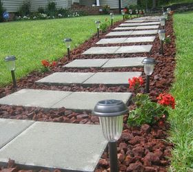 Front Walkway Built Out Of Inexpensive Cement Pavers Red Lava Rocks And  Solar, Concrete Masonry