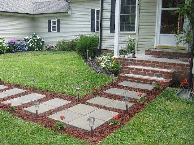 Front Walkway Built Out Of Inexpensive Cement Pavers Red Lava