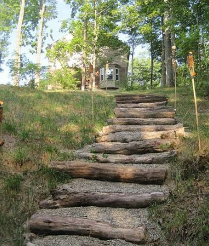 The stairs were made with fallen trees & gravel & placed where the ground naturally stepped down.