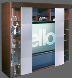 This is a Curtain Call wall unit. The doors open via an electric motor.