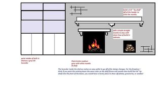q need design help fireplace brick wall paint, concrete masonry, fireplaces mantels, painting, wall decor, a quick work up for a painted brick wall