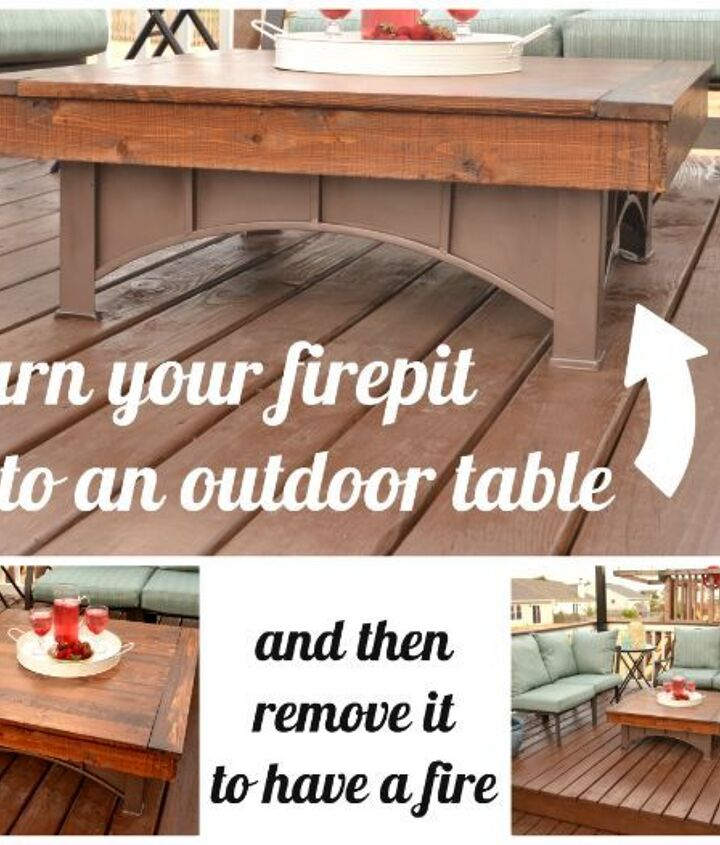 Convert your square fit pit into an outdoor table with a removable top.  See the details here. http://www.infarrantlycreative.net/2012/07/outdoor-coffee-table.html