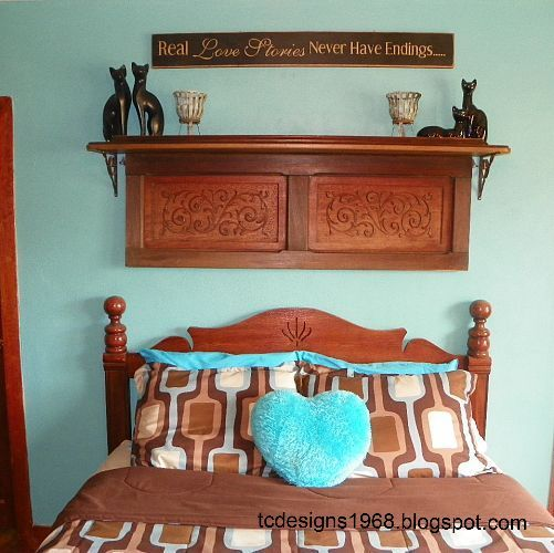 old piano remnants made into an art piece above the bed, repurposing upcycling, shelving ideas, I love my New shelf