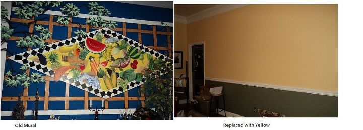 Our inherited mural replaced with a buttery happy yellow!