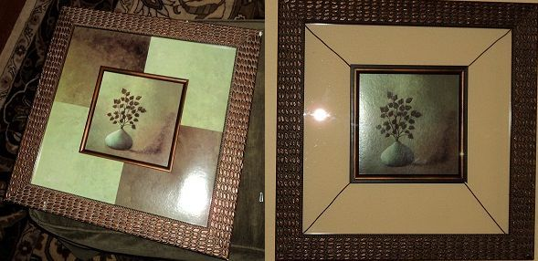 Yard sale picture. .50 cents, removed icky border, suspended picture with old wire, let wall show through....Love the look.