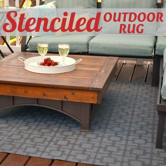 outdoor stenciled rug, decks, outdoor living