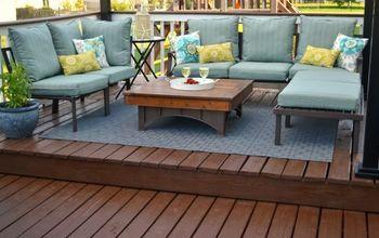 Outdoor stenciled rug.