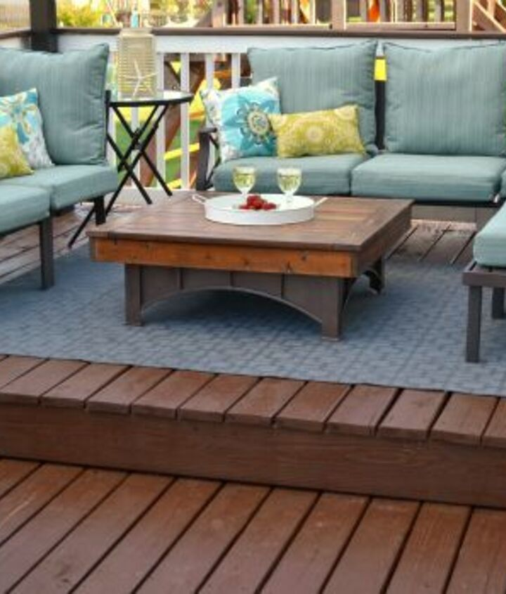 outdoor stenciled rug, decks, outdoor living