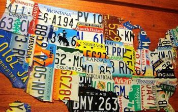 diy license plate map of usa, crafts, Looking pretty on the wall