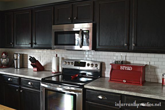 White Subway Tile Backsplash with Black Cabinets | Hometalk