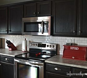 Beau White Subway Tile Backsplash With Black Cabinets
