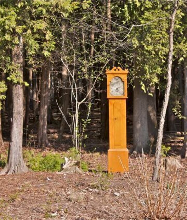 clock in the woods finding beauty in the unexpected, outdoor furniture, outdoor living, painted furniture