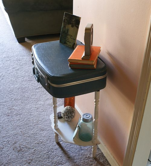 Repurposed suitcase to table