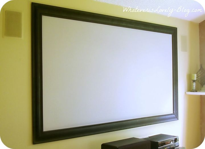 diy home theater, home decor, Framed Projector Screen with Black Widow Paint