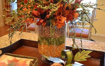 Layered corn, peas, and bean arrangement on my kitchen island