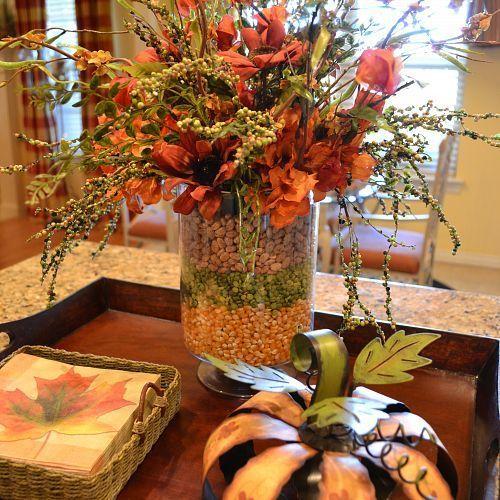 layered corn peas and bean arrangement on my kitchen island, seasonal holiday d cor