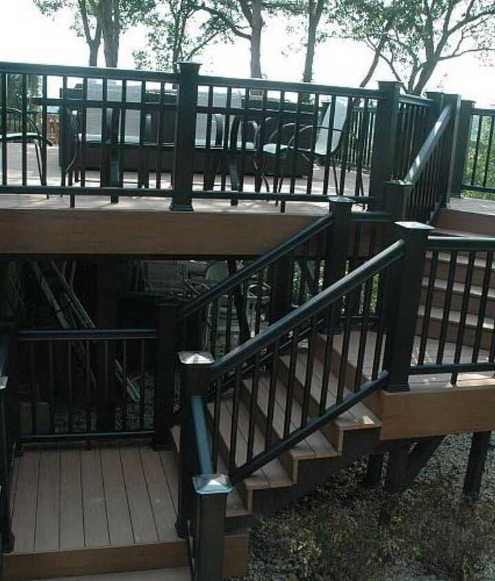 "Tip: Instead of ""skirting"" the entire underside of this deck, we stained all of the exposed framing with a dark brown stain to blend it into the shadows to give a clean floating look. http://www.deckandpatio.com/decks/portfolio.html"