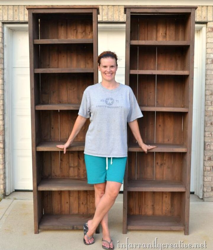 how to make tall bookshelves, painted furniture, storage ideas