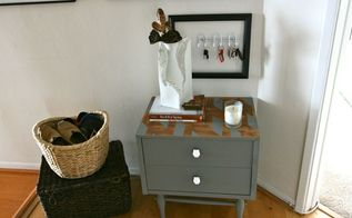 geometric table makeover, painted furniture