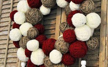 Yarn Ball Wreath {cheap version}