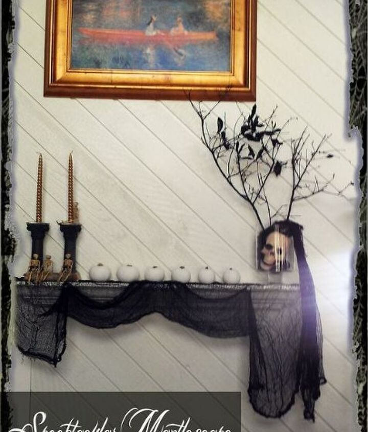 creat a spooktacular halloween mantlescape with no fireplace, crafts, fireplaces mantels, halloween decorations, seasonal holiday decor