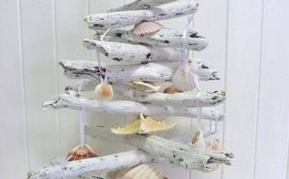 driftwood christmas trees, christmas decorations, seasonal holiday decor, white coastal christmas