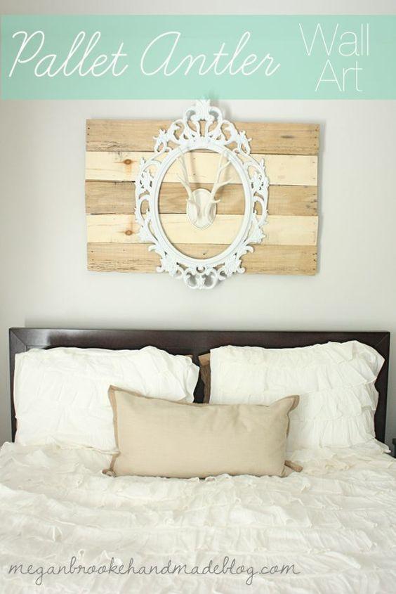 pallet antler wall art, home decor, pallet, repurposing upcycling