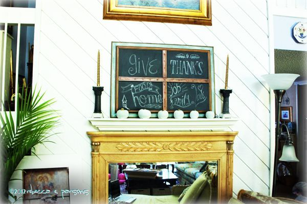 DIY Chalk Board over faux mantle decorated for Thanksgiving