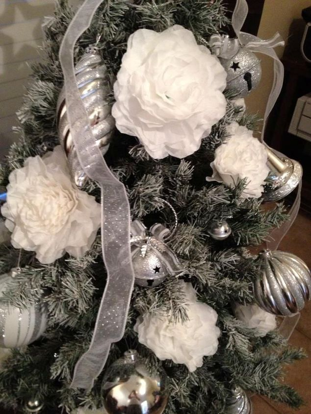 coffee filter flowers used to decorate my little christmas tree