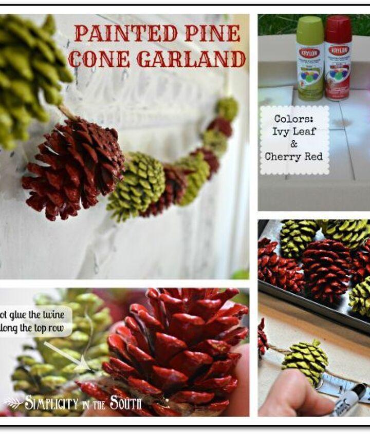 painted pine cone garland tutorial, christmas decorations, painting, seasonal holiday decor