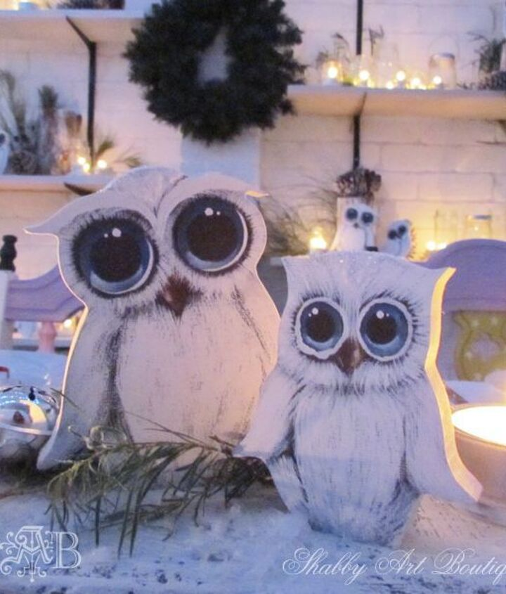 18 hand painted white owls