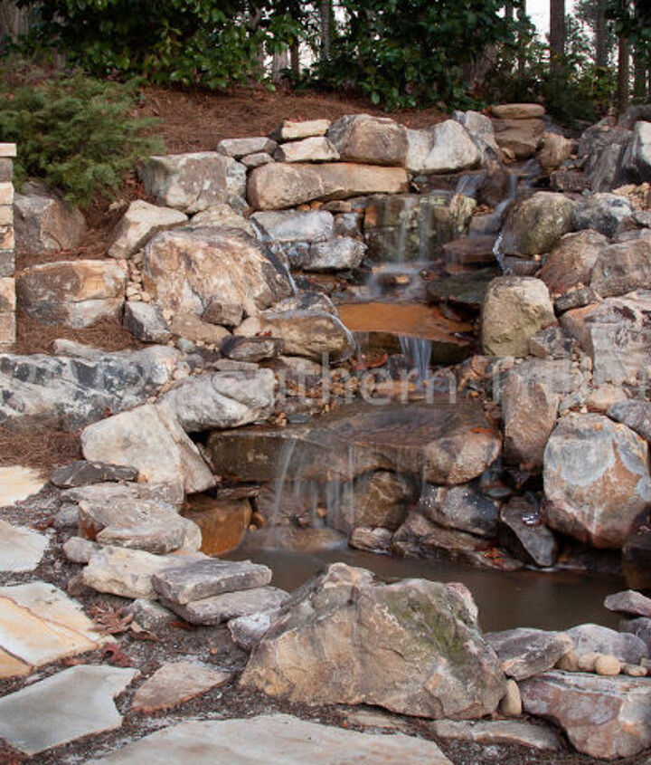 Closer view of the waterfall and pond.