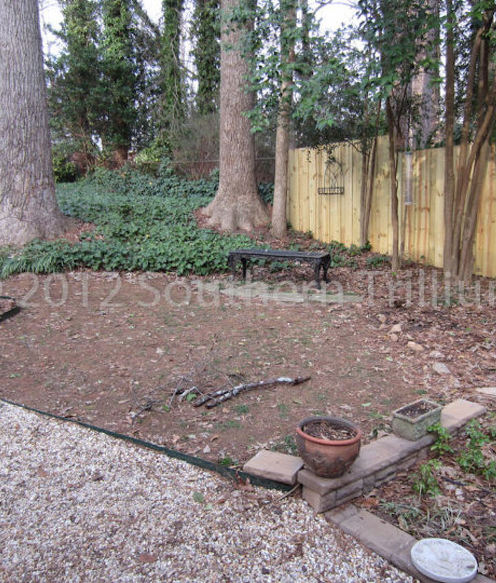 Before view of the sitting area and pondless water feature location.